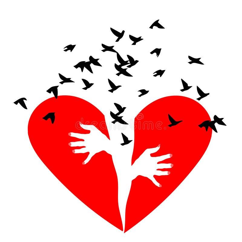 Immense chagrin rouge Les oiseaux volent hors d'un coeur brisé Le coeur brisé ou divorce Le coeur brisé, icône de vecteur illustration libre de droits