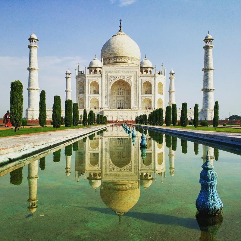 The Taj mahal. An immense mausoleum of white marble, built in Agra between 1631 and 1648 by order of the Mughal emperor Shah Jahan in memory of his favourite stock photography