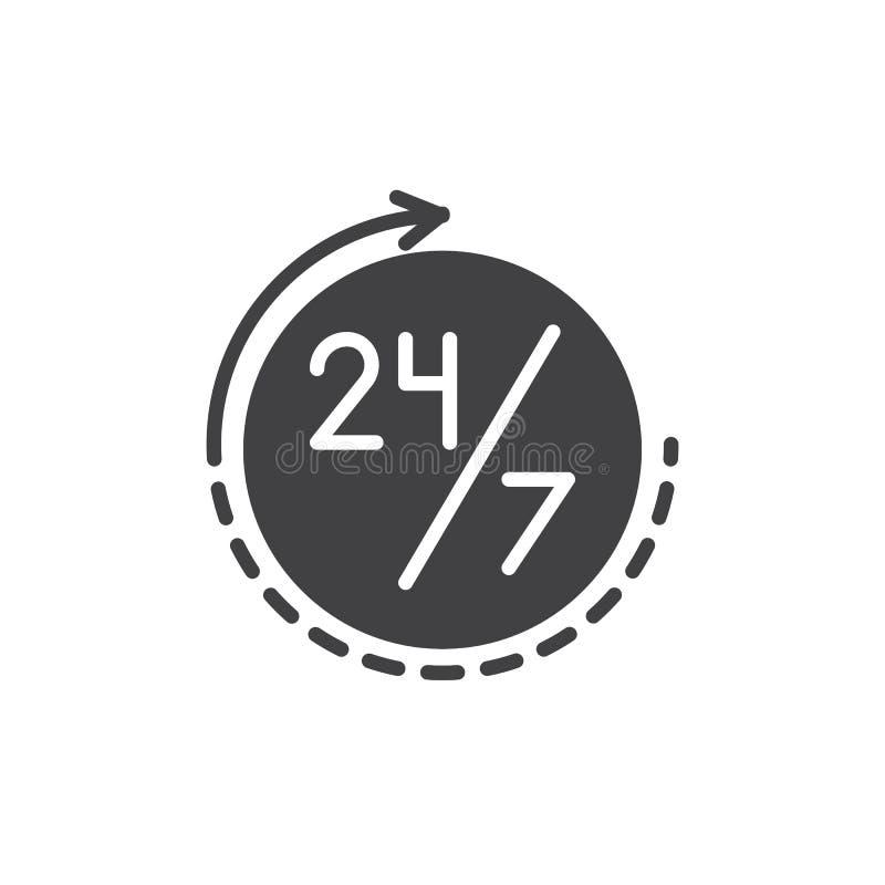Immer Zeit offen 24 Stunden pro Tag und 7 Tage in der Woche Ikonenvektor lizenzfreie abbildung