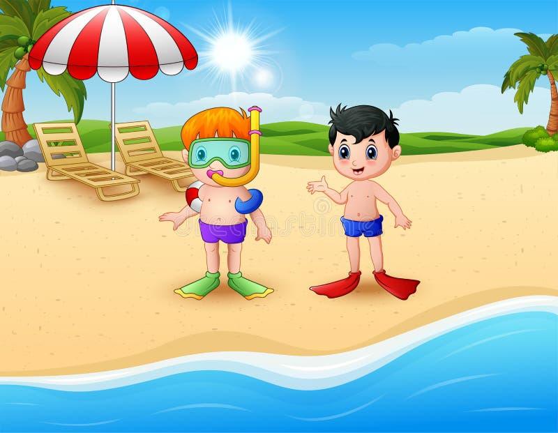 Immergersi i bambini che stanno sulla spiaggia illustrazione di stock
