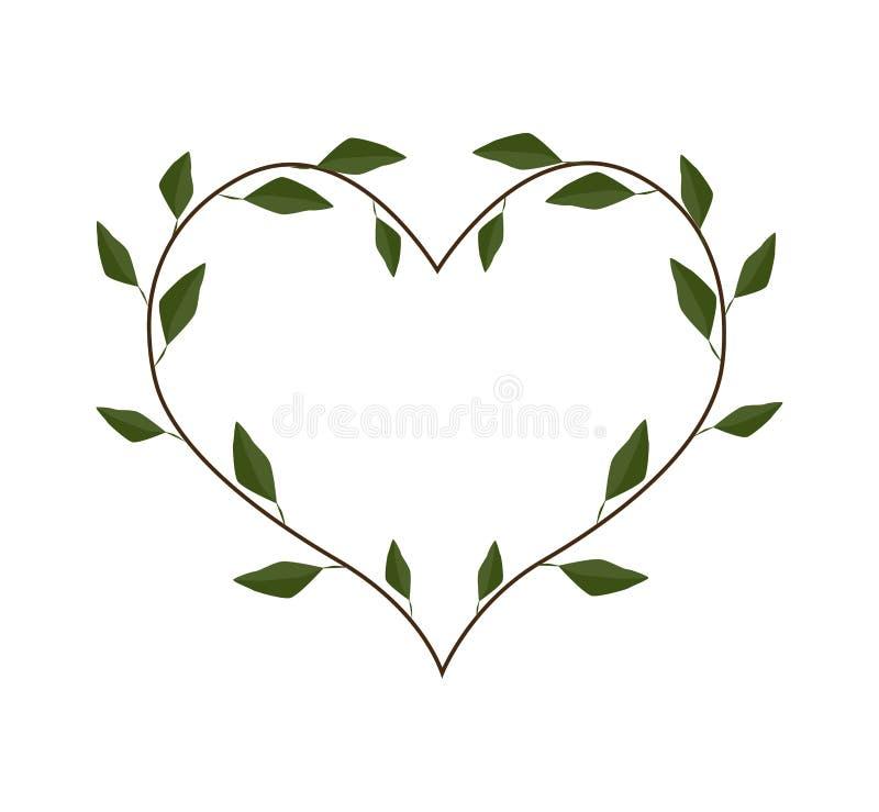 Immergrün-Blätter in einem Herz-Form-Rahmen stock abbildung