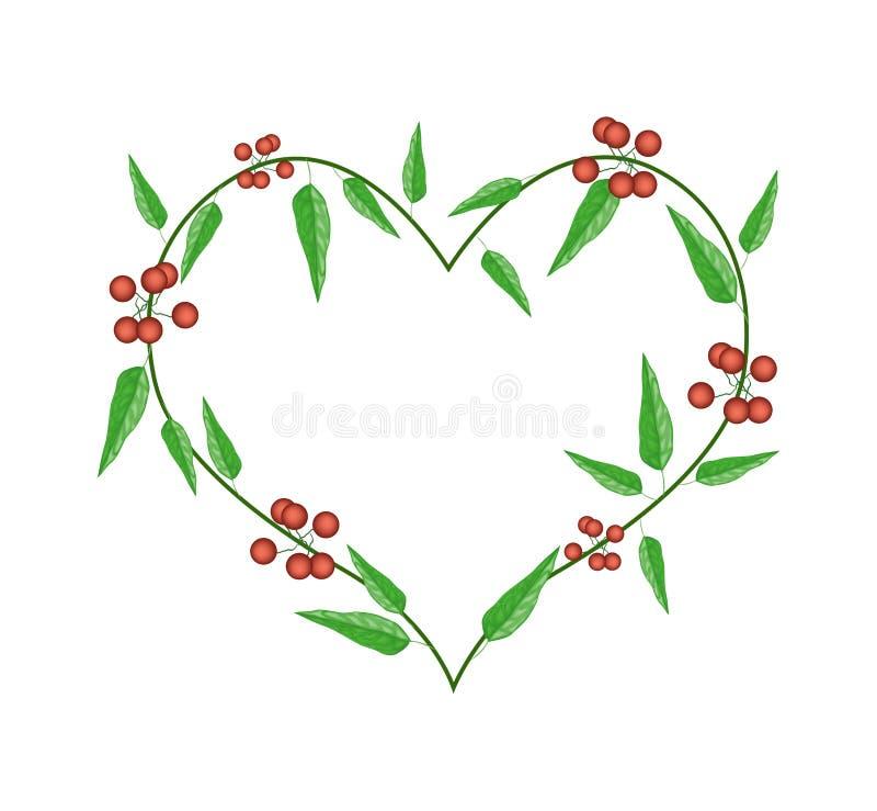 Immergrün-Blätter in einem Herz-Form-Rahmen vektor abbildung
