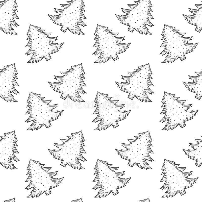 Immergr?ne Kiefer Vektorkonzept in der Gekritzel- und Skizzenart Handgezogene Illustration für den Druck auf T-Shirts, Postkarten lizenzfreie abbildung