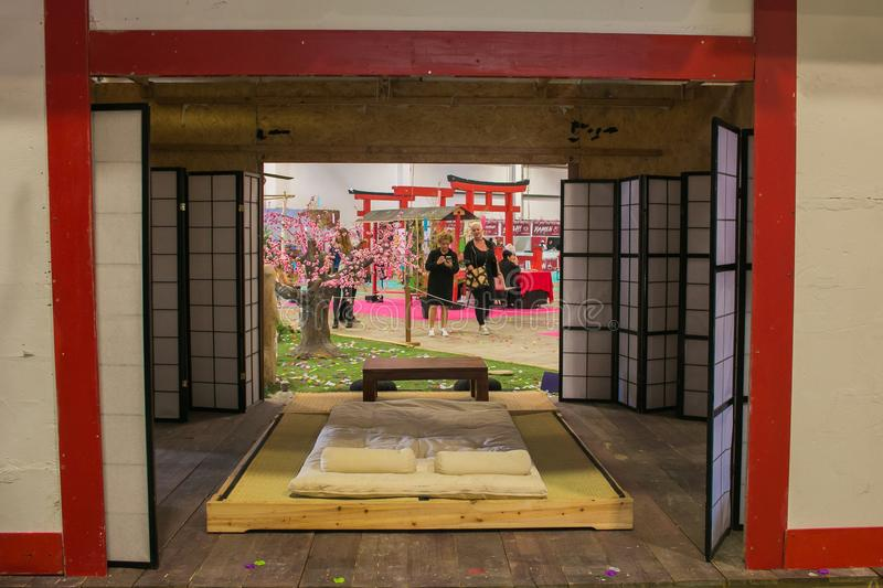 The famousFestival of the East returns to Perugia, at the Umbria Fiere in Bastia Umbra. Interior of the traditional Japanese house stock image