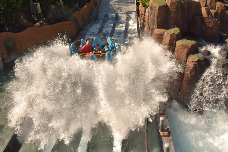 Immerse yourself in the highest fall of this type of attractions, in theme parks of the world i stock photo