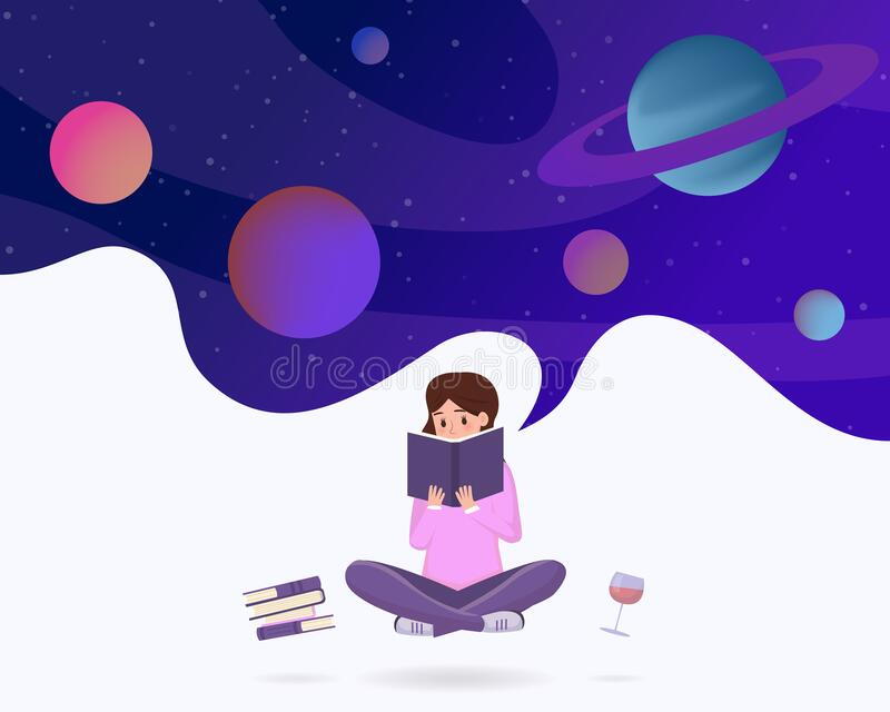 Immersed in reading metaphor vector illustration. Young girl in lotus pose enjoying sci fi literature, fantasy novel royalty free illustration