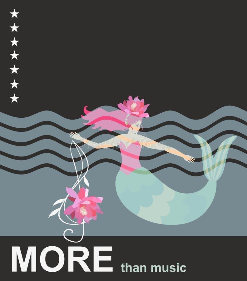 Immersion dans la musique Sirène mignonne de bande dessinée avec la clef triple sous la forme de lotus, de vagues de mer, d'étoil illustration de vecteur