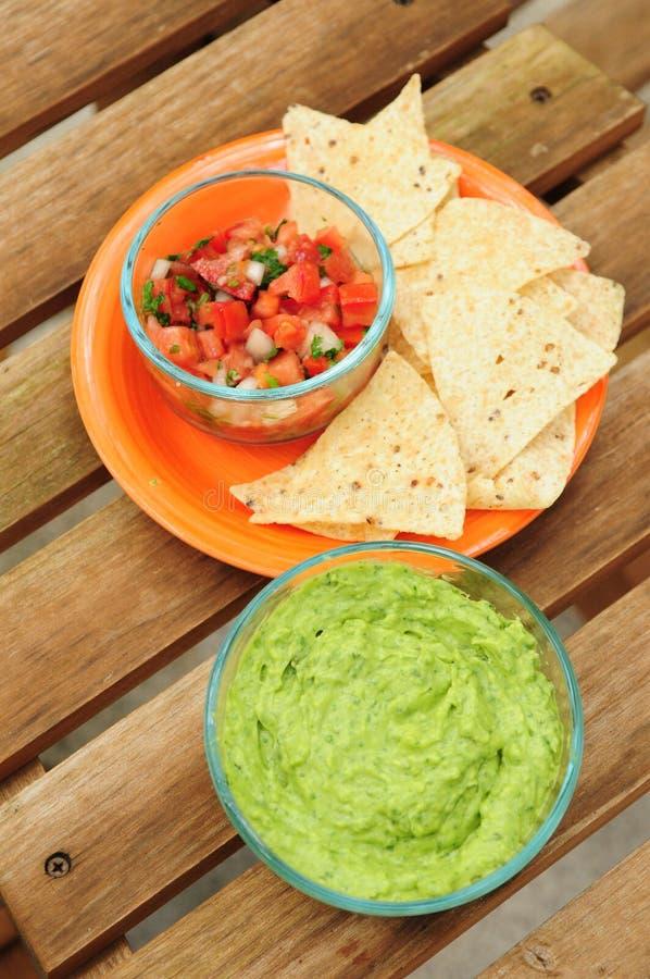 Immersion de guacamole avec les frites et le Salsa image libre de droits