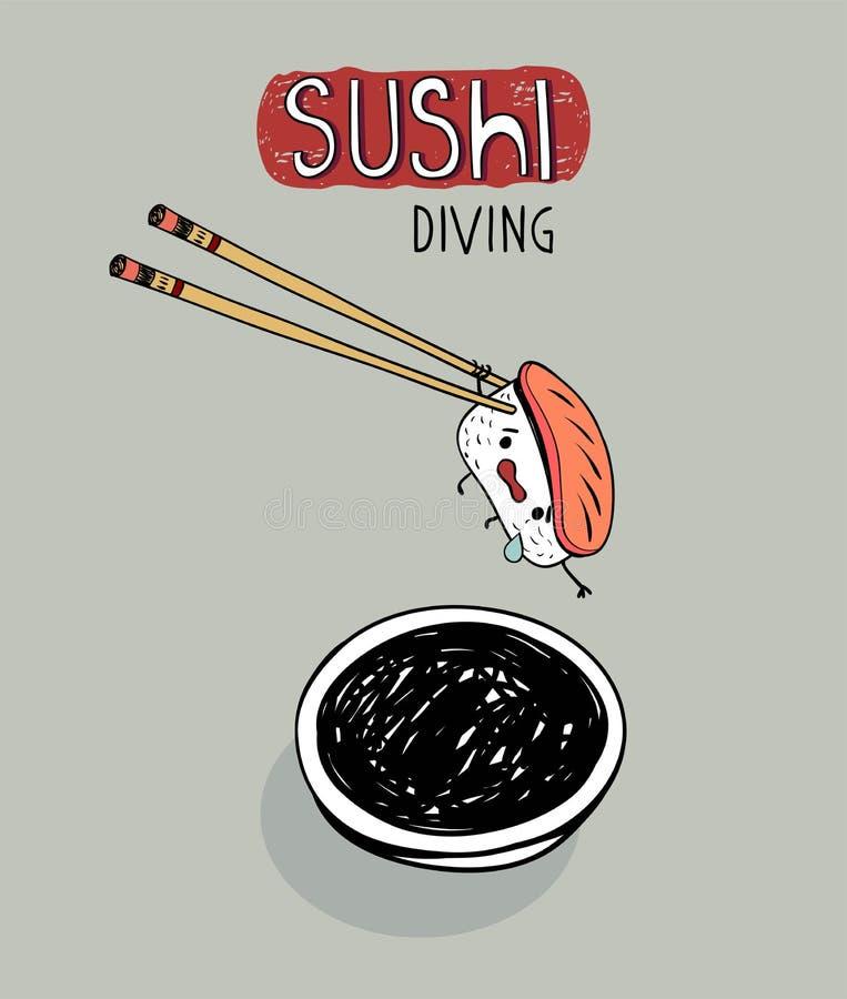 Immersione subacquea dei sushi, manifesto sveglio del fumetto illustrazione vettoriale