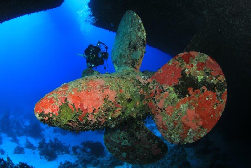 Immersione subacquea del naufragio fotografia stock