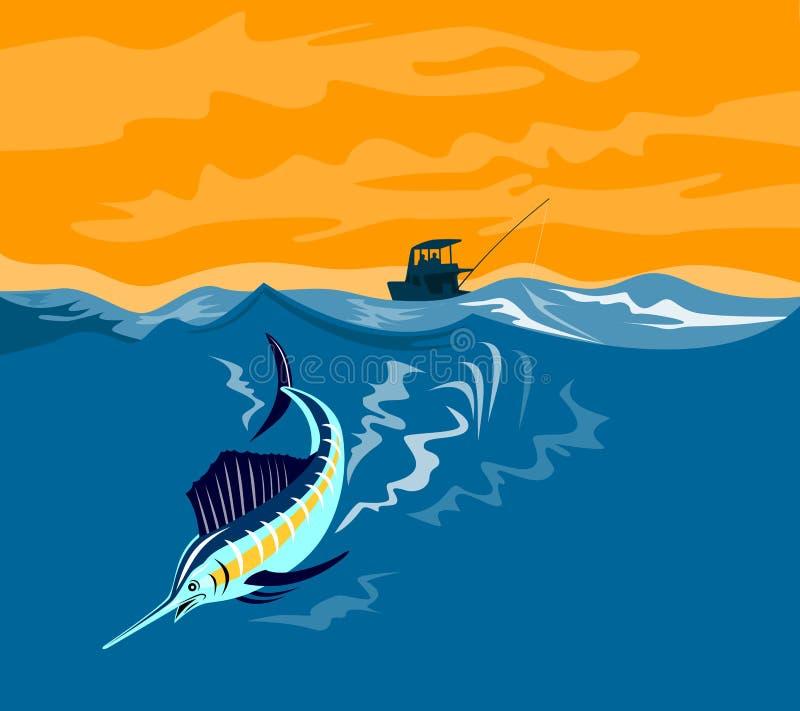 Immersione subacquea del pesce vela del Pacifico con la barca in b illustrazione di stock