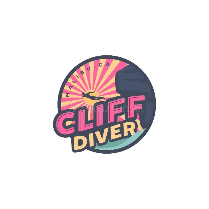 Immersione subacquea della scogliera sulle progettazioni di logo della spiaggia, sulla palma e sulla vista di oceano illustrazione vettoriale
