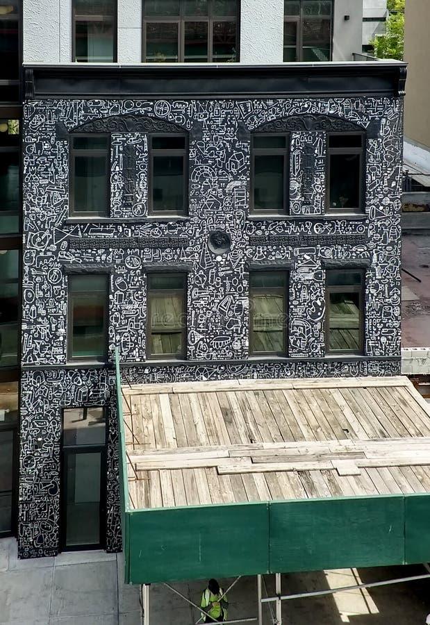Immeuble avec l'illustration à Williamsburg Brooklyn Mai 2018 photo libre de droits