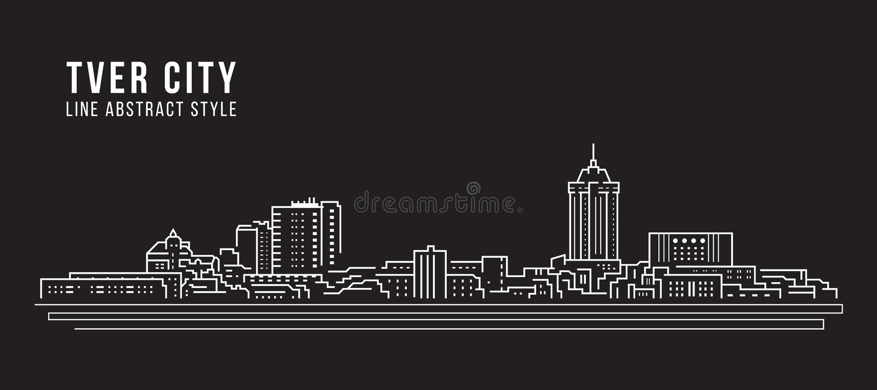 Immeuble Cityscape Line Art Vector Illustration - Ville de Tver illustration libre de droits