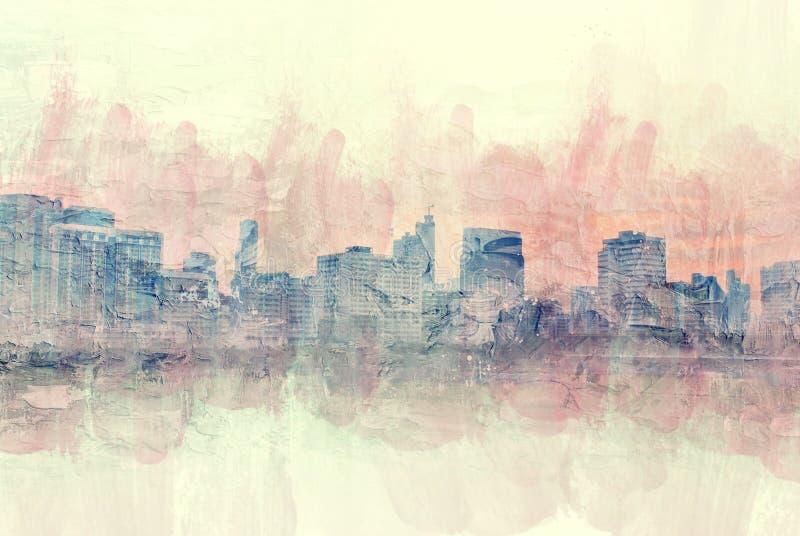 Immeuble de bureaux abstrait dans la ville sur le fond de peinture d'aquarelle photo libre de droits