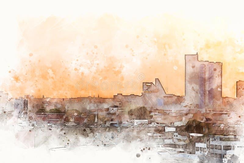 Immeuble de bureaux abstrait dans la ville sur le fond de peinture d'aquarelle Ville sur l'illustration de Digital illustration stock
