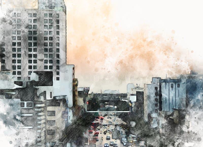 Immeuble de bureaux abstrait dans la ville sur le fond de peinture d'aquarelle Ville sur l'illustration de Digital illustration de vecteur