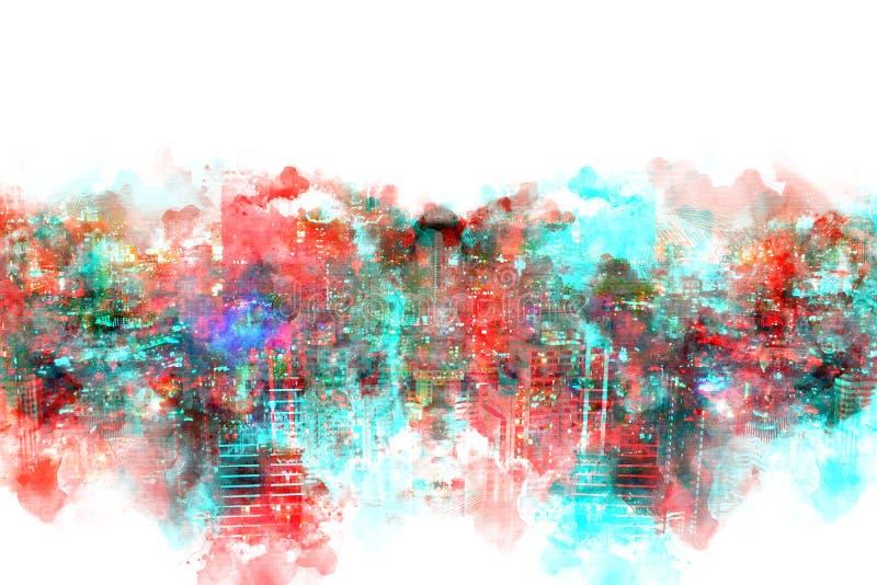 Immeuble de bureaux abstrait dans la ville sur le fond de peinture d'aquarelle Ville sur l'illustration de Digital illustration libre de droits