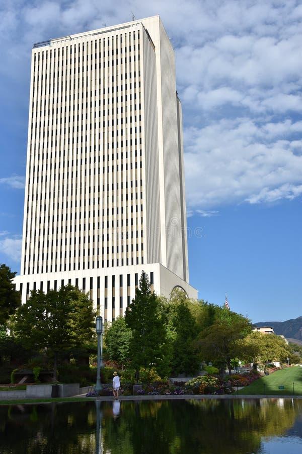 Immeuble de bureaux d'église à la place de temple à Salt Lake City, Utah image stock