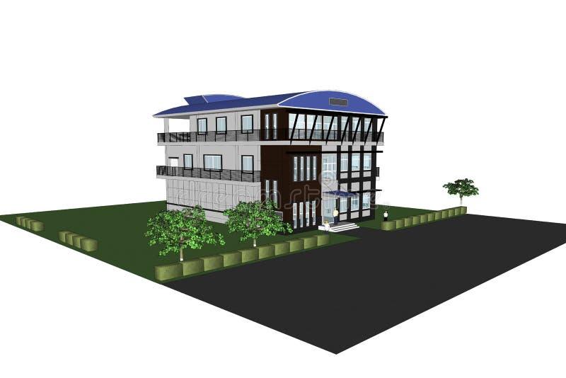 immeuble de bureaux de l'architecture 3D illustration stock
