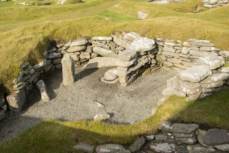 Immeuble Iron Age, Jarlshof, Écosse photos libres de droits