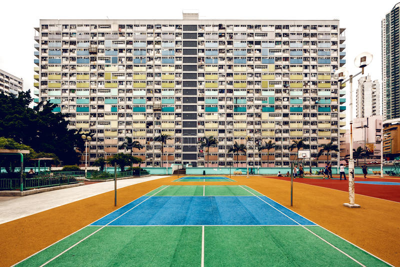 Immeubles colorés, Hong Kong images libres de droits