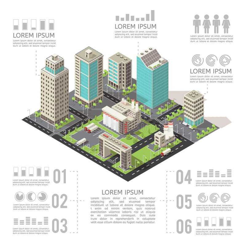 Immeubles de bureaux Infographics isométrique illustration libre de droits