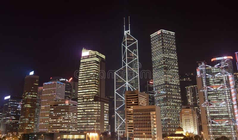 Immeubles de bureaux la nuit. Hong Kong images libres de droits