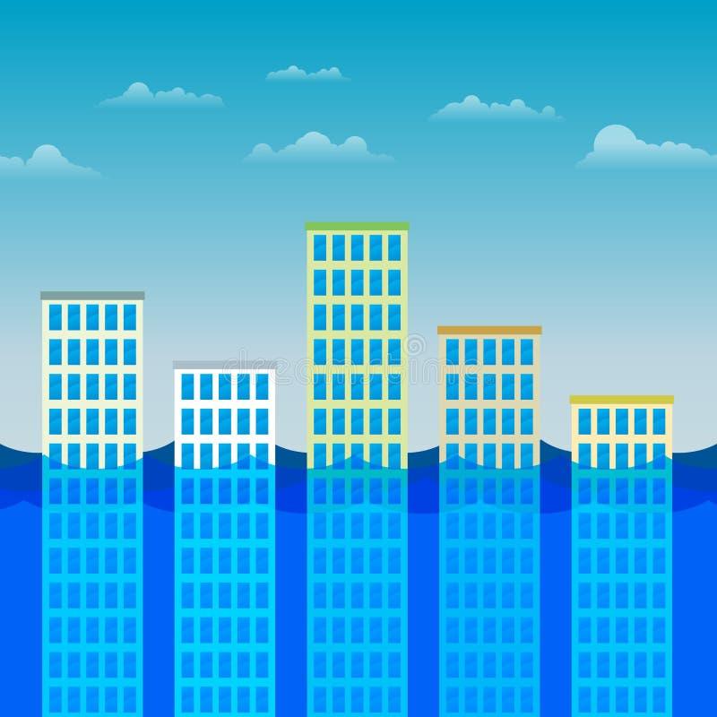 Immeubles de bureaux survivant à l inondation