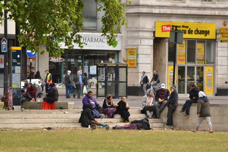 Homeless immigrants gathering Marble Arch London. Eastern European homeless immigrants gathering in Marble Arch ,London stock photos