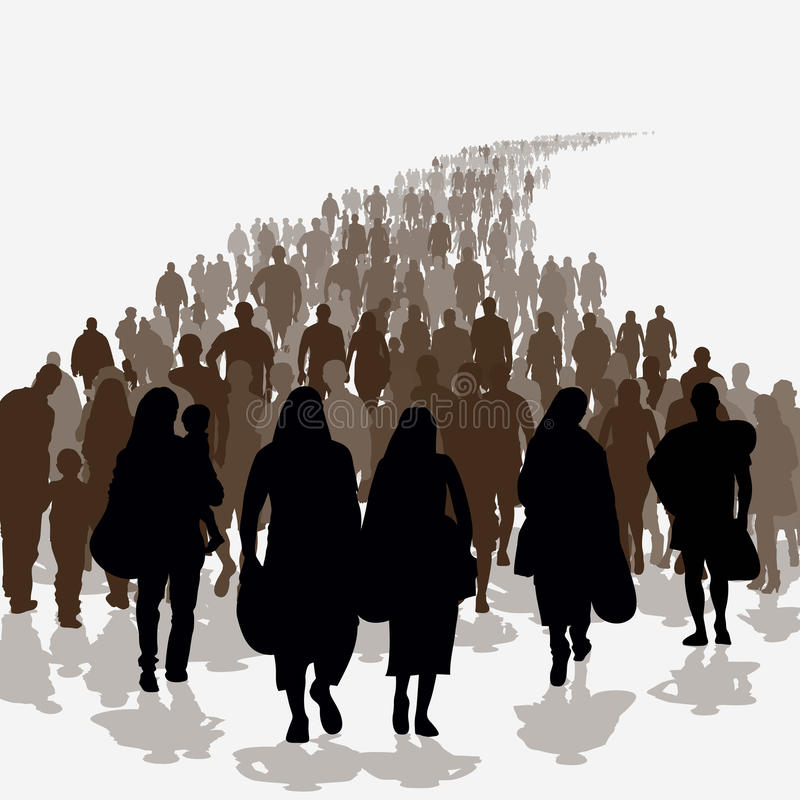Immigratiemensen royalty-vrije illustratie