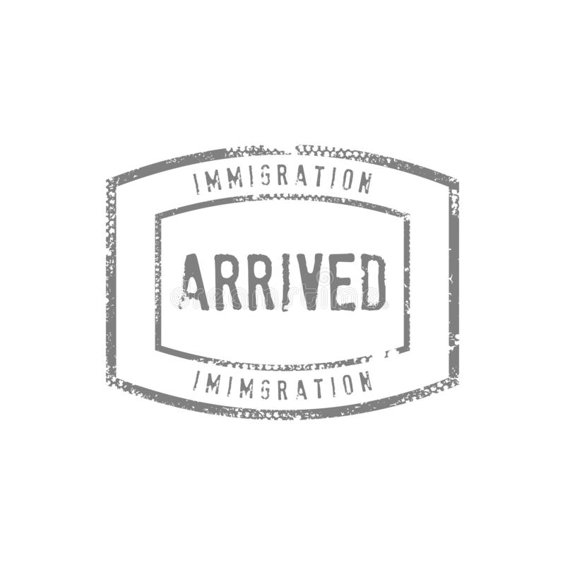 Immigration Arrived Stamp Drawing Vector Graphic royalty free stock images