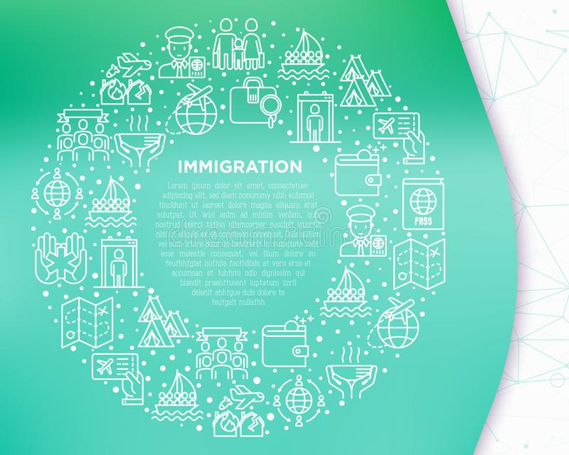 Immigration concept in circle with thin line icons: immigrants, illegals, baggage examination, passport, refugee camp, stock illustration