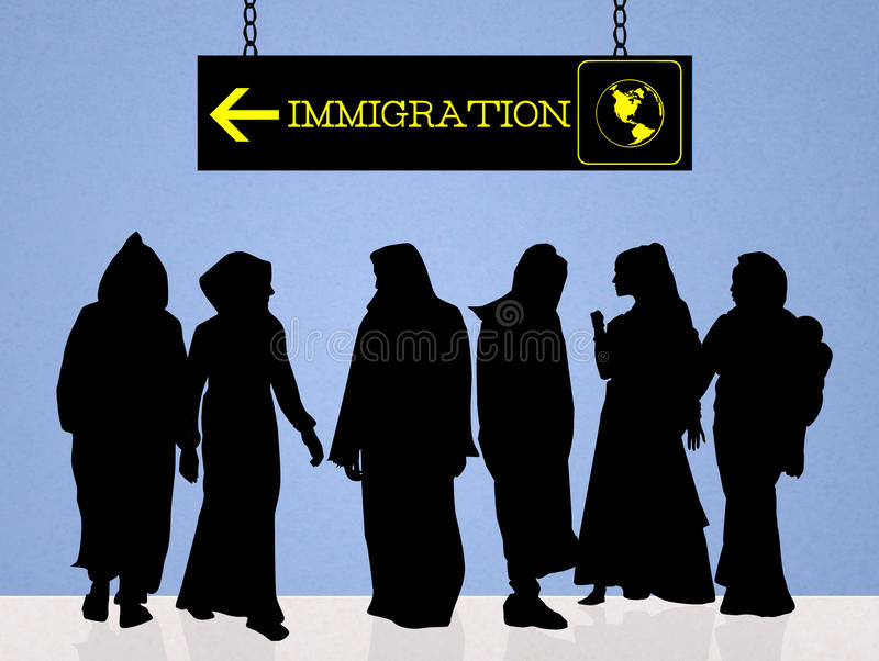 Immigration concept. Cute illustration of immigration problem royalty free illustration