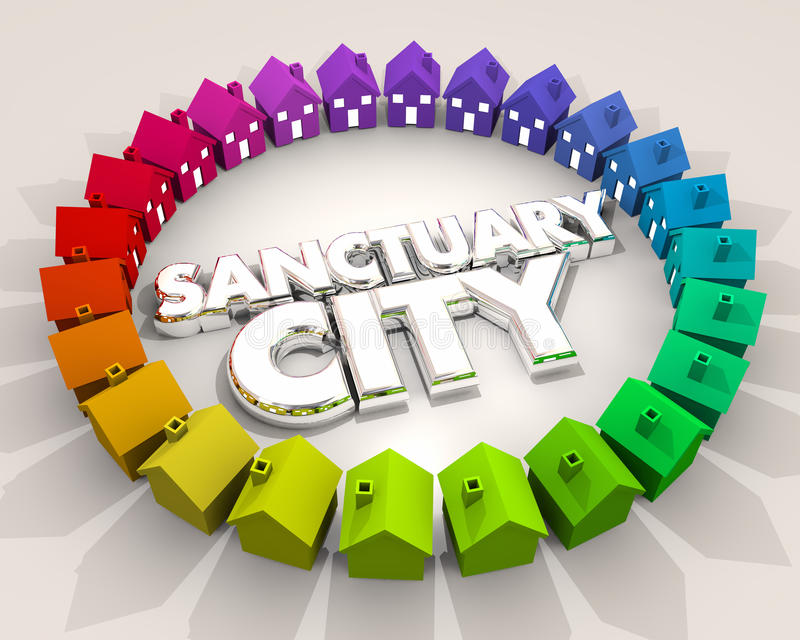 Immigration 3d Illus de voisinage de région d'endroit sûr de ville de sanctuaire illustration stock
