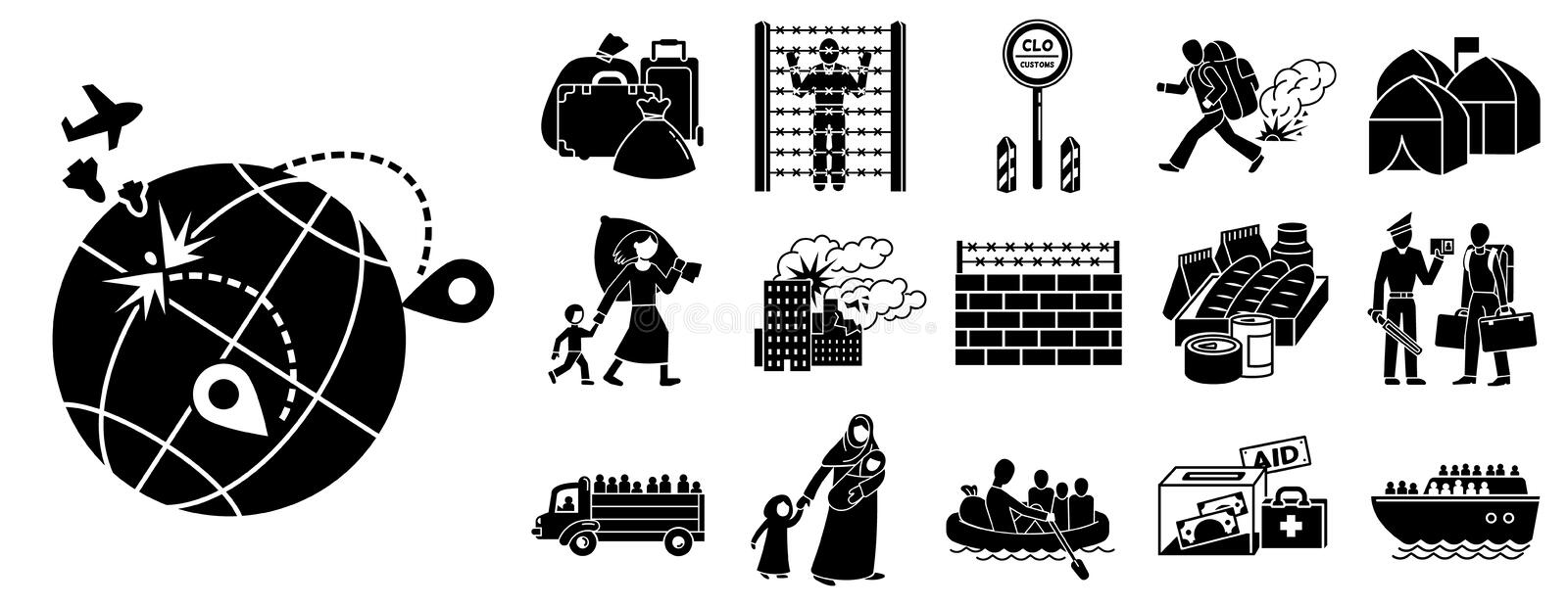 Immigration icon set, simple style royalty free illustration