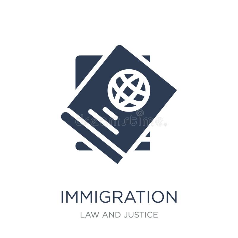 immigration icon. Trendy flat vector immigration icon on white b royalty free illustration