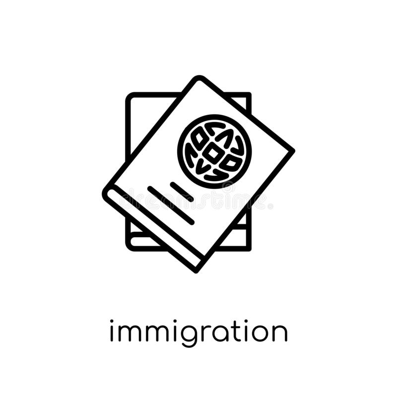 immigration icon. Trendy modern flat linear vector immigration i stock illustration