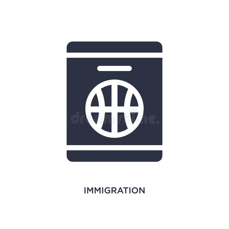immigration icon on white background. Simple element illustration from law and justice concept royalty free illustration
