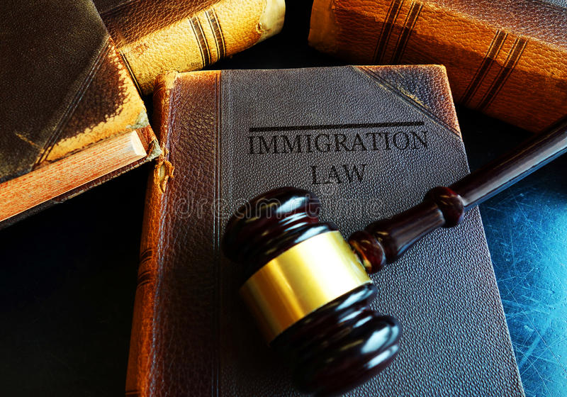 Immigration Law concept. Immigration Law book with court gavel royalty free stock photo