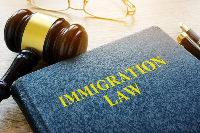 Immigration law and gavel. Immigration law and gavel in a court royalty free stock photos