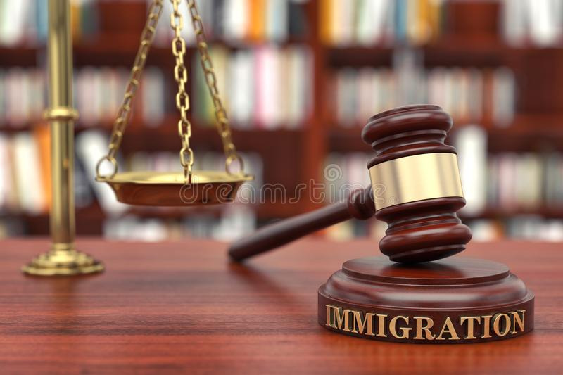Immigration law. Gavel and word Immigration on sound block royalty free stock images