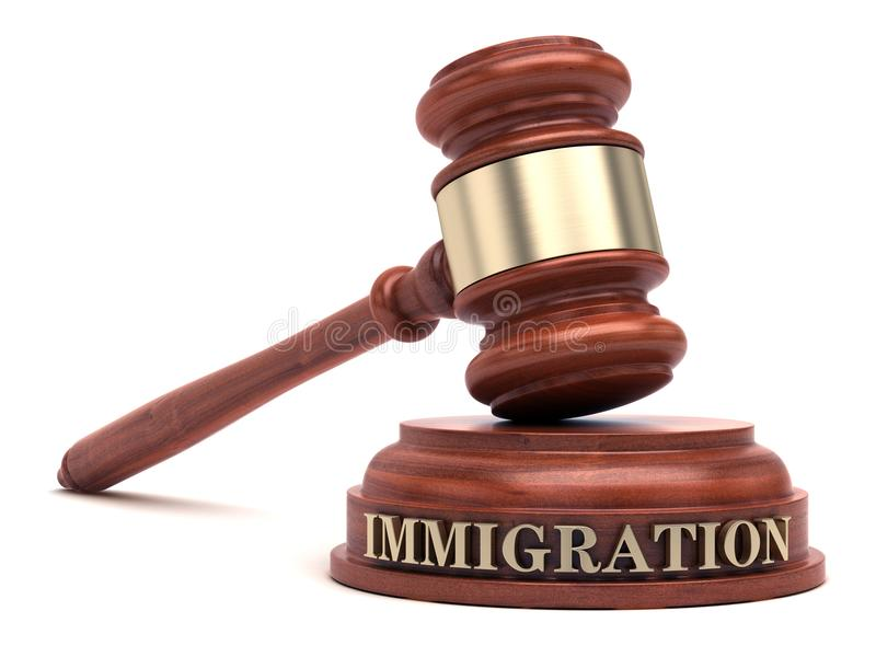 Immigration law. Gavel and Immigration text on sound block royalty free stock photos