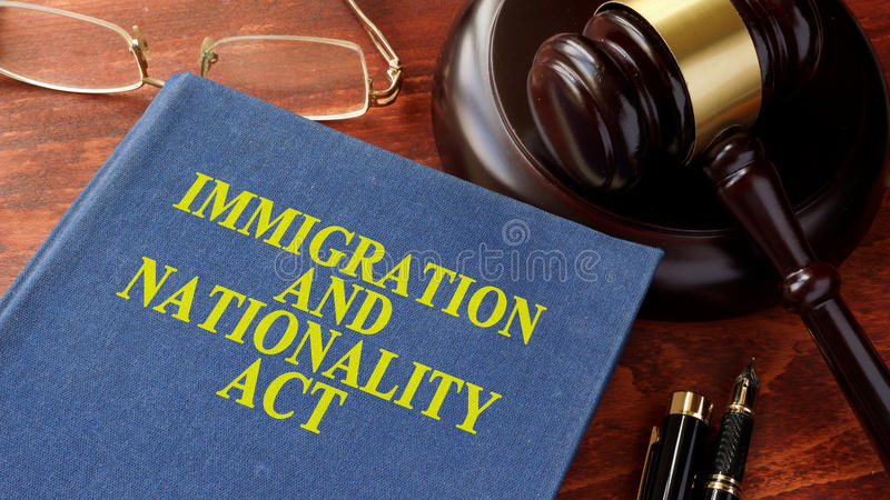 Immigration and Nationality Act INA. Book with title Immigration and Nationality Act INA royalty free stock image