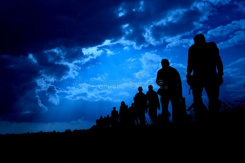 Immigration of people in blue royalty free stock photography