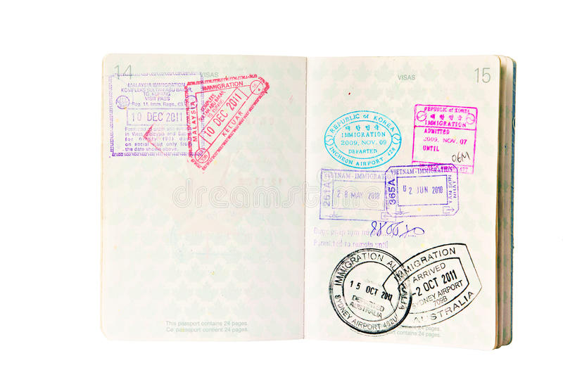 Immigration stamps in Canadian Passport royalty free stock photography