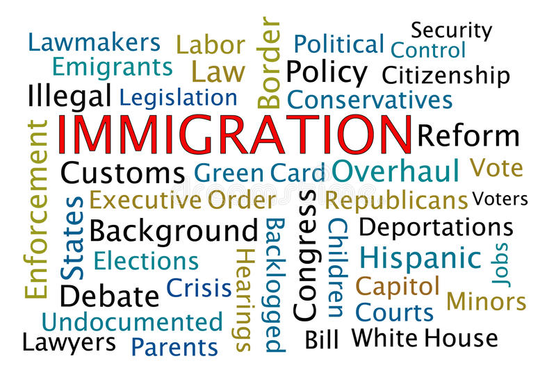 Immigration. Word cloud on white background stock illustration
