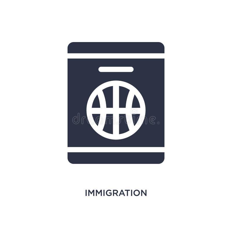 Immigrationsikone auf weißem Hintergrund Einfache Elementillustration vom Gesetzes- und Gerechtigkeitskonzept lizenzfreie abbildung
