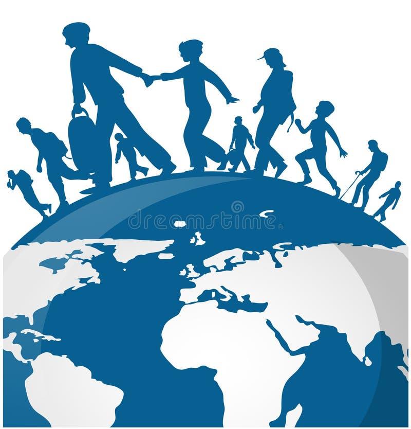 Immigrationsleute auf Weltkarte stock abbildung