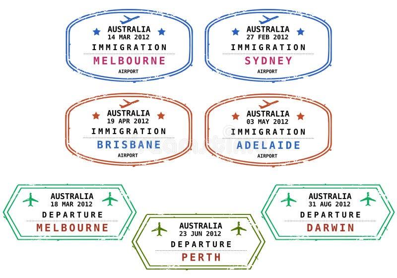Immigrationstempel - Australien lizenzfreie abbildung